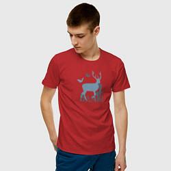 Футболка хлопковая мужская Бэмби цвета красный — фото 2