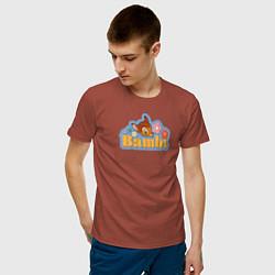 Футболка хлопковая мужская Бэмби цвета кирпичный — фото 2