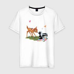 Футболка хлопковая мужская Flower and Bambi цвета белый — фото 1