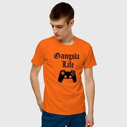 Футболка хлопковая мужская GANSTA LIFE цвета оранжевый — фото 2
