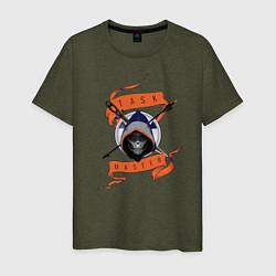 Футболка хлопковая мужская Taskmaster цвета меланж-хаки — фото 1