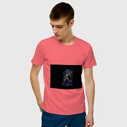 Футболка хлопковая мужская Настроить жнецов цвета коралловый — фото 2