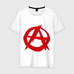 Футболка хлопковая мужская Символ анархии цвета белый — фото 1