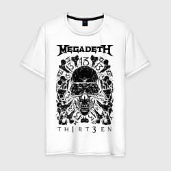 Футболка хлопковая мужская Megadeth Thirteen цвета белый — фото 1