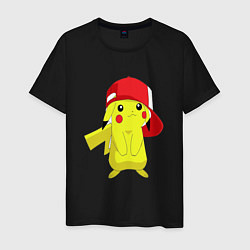 Мужская хлопковая футболка с принтом Пикачу, цвет: черный, артикул: 10051492100001 — фото 1