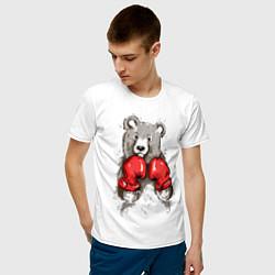 Футболка хлопковая мужская Bear Boxing цвета белый — фото 2