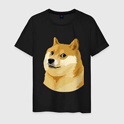 Мужская хлопковая футболка с принтом Doge, цвет: черный, артикул: 10053122000001 — фото 1