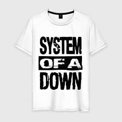 Футболка хлопковая мужская System Of A Down цвета белый — фото 1