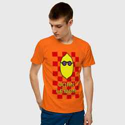 Футболка хлопковая мужская John Lemon цвета оранжевый — фото 2
