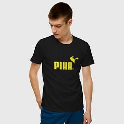 Футболка хлопковая мужская Пика цвета черный — фото 2