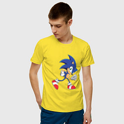 Футболка хлопковая мужская Sonic the Hedgehog цвета желтый — фото 2