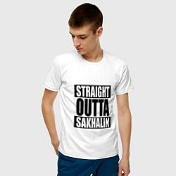 Футболка хлопковая мужская Straight Outta Sakhalin цвета белый — фото 2