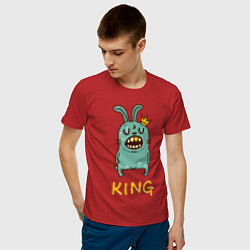 Мужская хлопковая футболка с принтом Rabbit King, цвет: красный, артикул: 10084409900001 — фото 2
