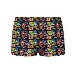 Трусы-боксеры мужские Микки Маус и Гуффи цвета 3D-принт — фото 1