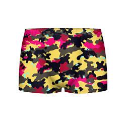 Трусы-боксеры мужские Камуфляж: желтый/черный/розовый цвета 3D — фото 1