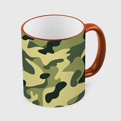Кружка 3D Камуфляж: зеленый/хаки цвета 3D-оранжевый кант — фото 1