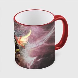 Кружка 3D Пожарный ангел цвета 3D-красный кант — фото 1