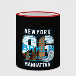 Кружка 3D New York: Manhattan 86 цвета 3D-красный кант — фото 2