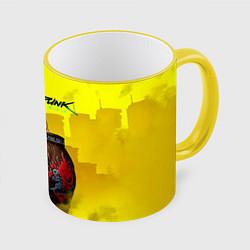 Кружка 3D Cyberpunk 2077 цвета 3D-желтый кант — фото 1