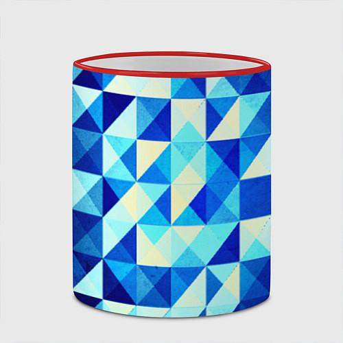 Кружка цветная Синяя геометрия / 3D-Красный кант – фото 2