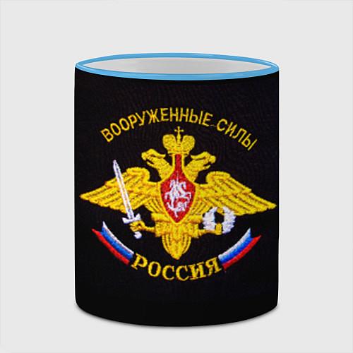 Кружка цветная ВС России: вышивка / 3D-Небесно-голубой кант – фото 2