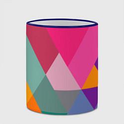 Кружка 3D Разноцветные полигоны цвета 3D-синий кант — фото 2