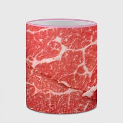 Кружка 3D Кусок мяса цвета 3D-розовый кант — фото 2