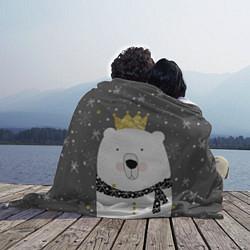 Плед флисовый Белый медведь с короной цвета 3D-принт — фото 2