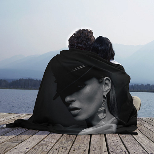 Флисовый плед Девушка в шляпе / 3D – фото 2