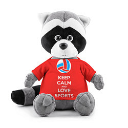 Игрушка-енот Keep Calm & Love Volleyball цвета 3D-серый — фото 1