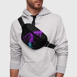 Поясная сумка МОЛНИЯ NEON цвета 3D-принт — фото 2