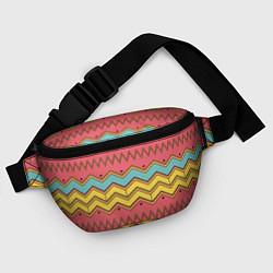 Поясная сумка Цветные зигзаги цвета 3D — фото 2