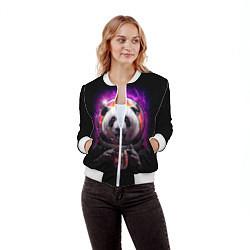 Бомбер женский Panda Cosmonaut цвета 3D-белый — фото 2