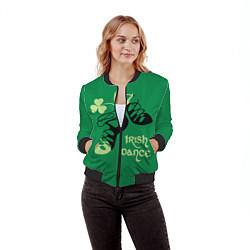 Бомбер женский Ireland, Irish dance цвета 3D-черный — фото 2
