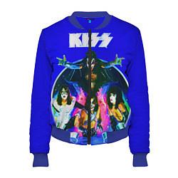 Бомбер женский Kiss Show цвета 3D-синий — фото 1