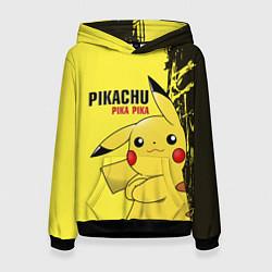 Толстовка-худи женская Pikachu Pika Pika цвета 3D-черный — фото 1