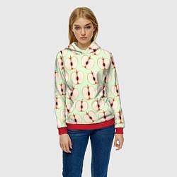 Толстовка-худи женская Молодильные яблочки цвета 3D-красный — фото 2