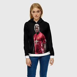 Толстовка-худи женская Погба: Манчестер Юнайтед цвета 3D-белый — фото 2