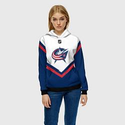 Толстовка-худи женская NHL: Columbus Blue Jackets цвета 3D-черный — фото 2