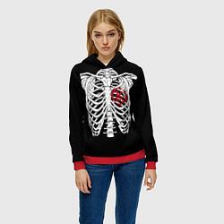 Толстовка-худи женская Кукрыниксы: Скелет цвета 3D-красный — фото 2