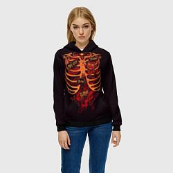 Толстовка-худи женская Человеческий скелет цвета 3D-черный — фото 2