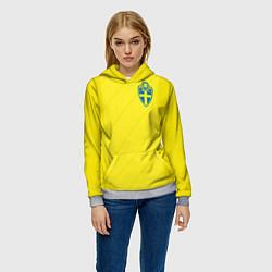 Толстовка-худи женская Сборная Швеции: Домашняя ЧМ-2018 цвета 3D-меланж — фото 2