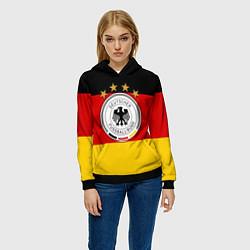 Толстовка-худи женская Немецкий футбол цвета 3D-черный — фото 2
