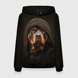 Толстовка-худи женская Ротвейлер в капюшоне цвета 3D-черный — фото 1