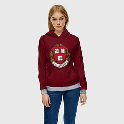 Толстовка-худи женская Harvard University цвета 3D-меланж — фото 2