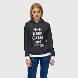 Толстовка-худи женская Keep Calm & Lift On цвета 3D-белый — фото 2