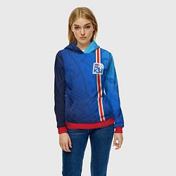 Толстовка-худи женская Сборная Исландии по футболу цвета 3D-красный — фото 2