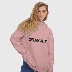 Толстовка оверсайз женская S.W.A.T цвета пыльно-розовый — фото 2