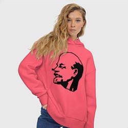 Толстовка оверсайз женская Ленин: скульптура цвета коралловый — фото 2
