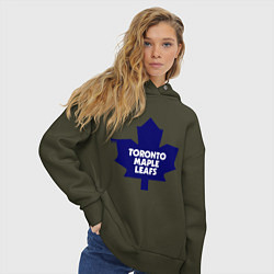 Толстовка оверсайз женская Toronto Maple Leafs цвета хаки — фото 2